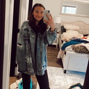 American Eagle Oversized Distressed Denim Jacket